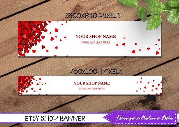 Etsy Shop Banner and Matching Avatar  Etsy Banner  Valentine