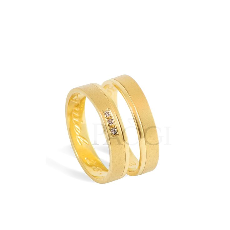 PAOGI - Alianzas Melos en oro amarillo con arenado y diamantes