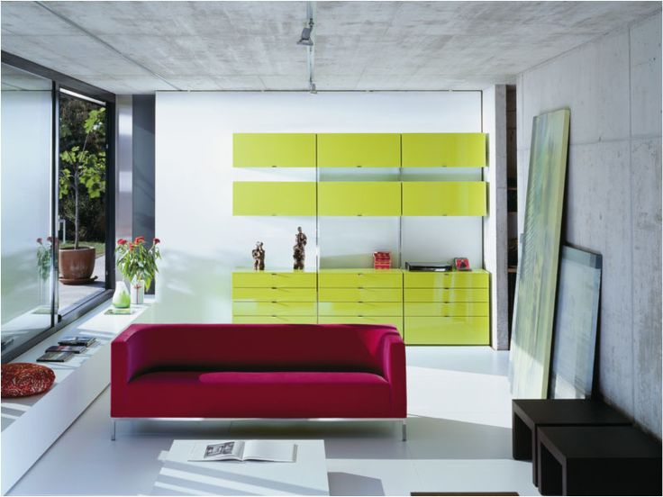 PARAPAN® Adds Vibrant Color To This Living Space. PARAPAN Solid Surface  Doors And Drawer