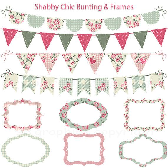 shabby chic bunting and tags frames grunge digital. Black Bedroom Furniture Sets. Home Design Ideas