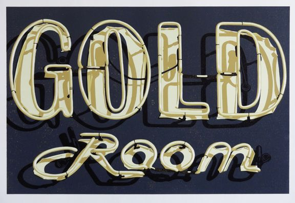 """Gold Room Reduction Linocut, Edition of 5, 6 Colors 20"""" x 30"""" (Framed 30"""" x 36"""")"""