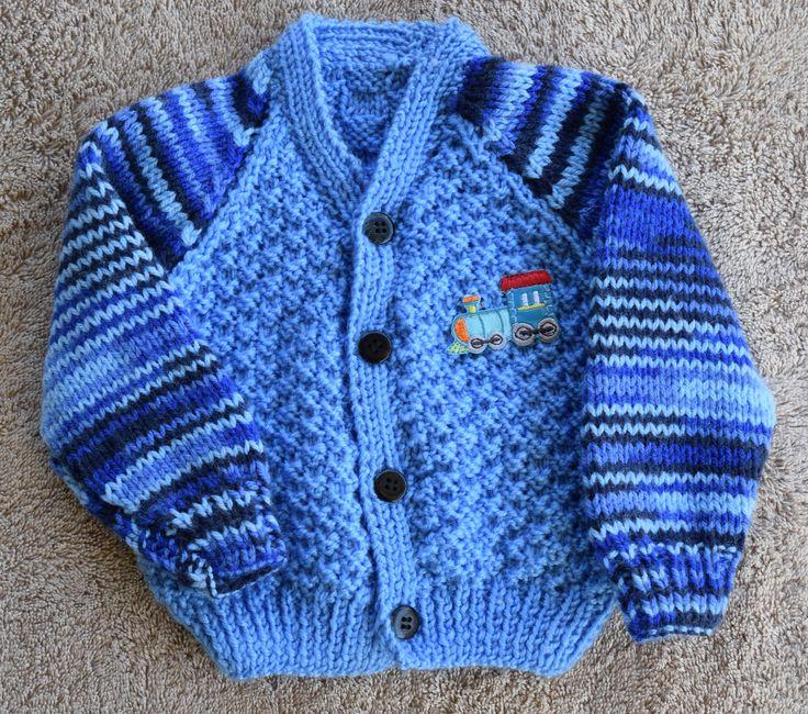 Hand knitted Baby Boy Cardigan 0-3mths by HandmadebyAuntyTart on Etsy