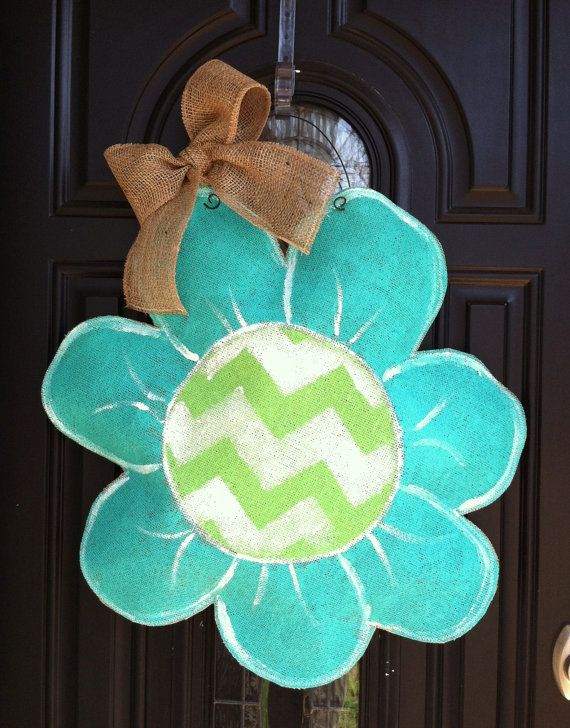 Burlap Door Hanger Teal Flower with Lime Chevron Pattern Burlap Door Decor