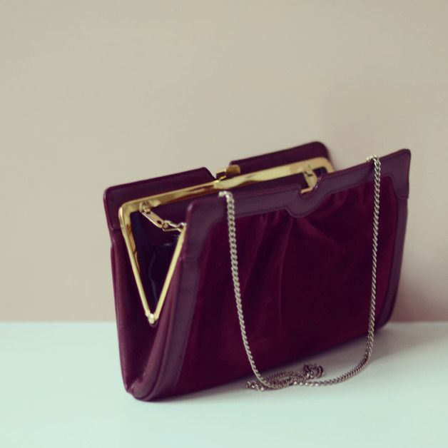Vintage schöne Leder Handtasche, Clutch // vintage clutch by LeFlair via dawanda.com