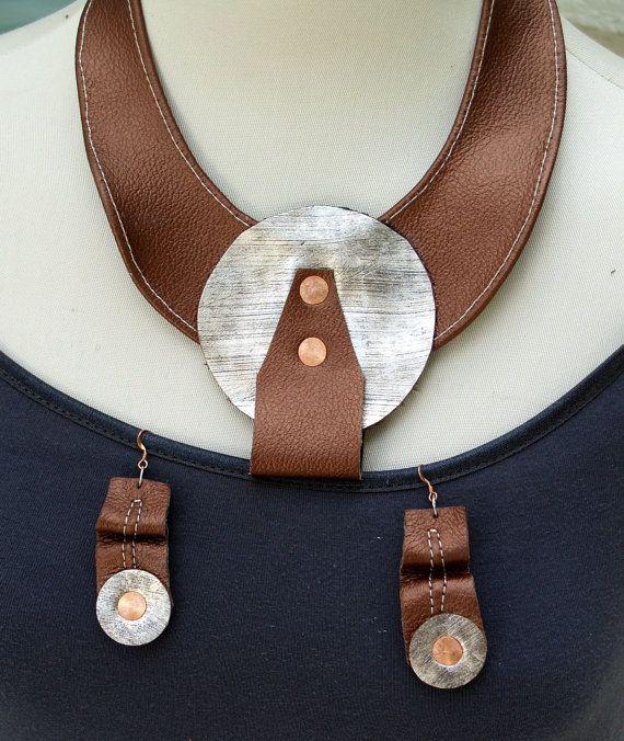 Metallic Silver Leather Disc, Metallic Copper Leather Bib with Copper Metal…