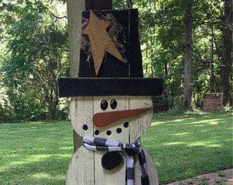 Big outdoor snowman yard art, primitive wood snowman, country wood snowman, snowman, rustic snowman, country snowman, big snowman decoration