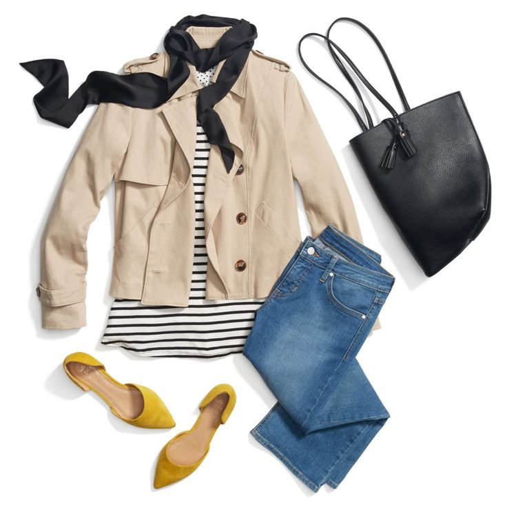 If you changed those jeans to a darker color in a more flattering cut, this outfit speaks to me on a deep level.  It looks into my soul.  The tan jacket over a striped shirt?  The scarf?? The yellow pop of color closed-toe shoes?  omg.  I want to be inside it.