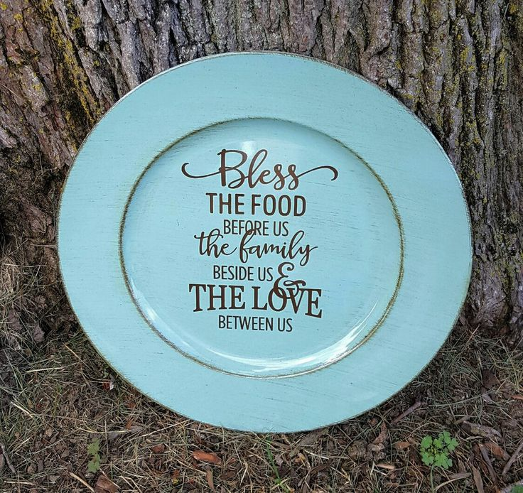 """13"""" Decorative Brushed Turquoise Charger Plate """"Bless The Food"""""""