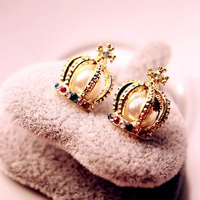 Gold-Pearl-Colorful-Crystal-Rhinestone-Fairytale-Queen-Crown-Stud-Earrings-MA
