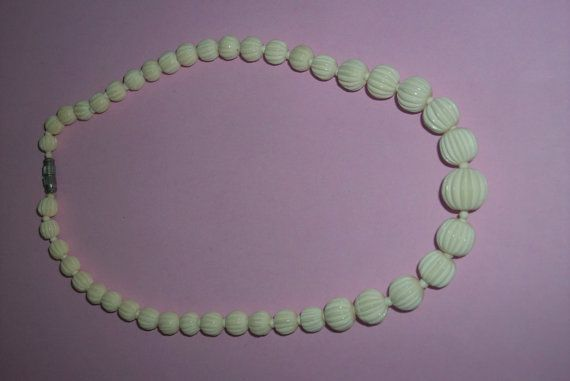 25 OFF SALE Vintage Carved Celluloid Cream Necklace by MICSJWL, $16.50