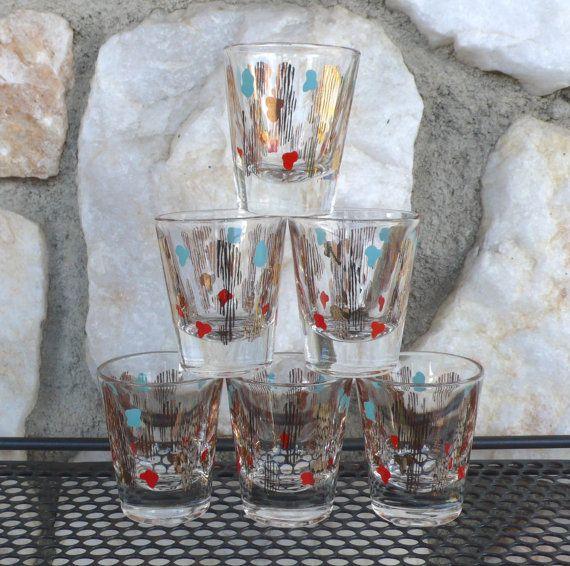 Vintage Mid Century Modern Shot Glasses by ModernJelly on Etsy