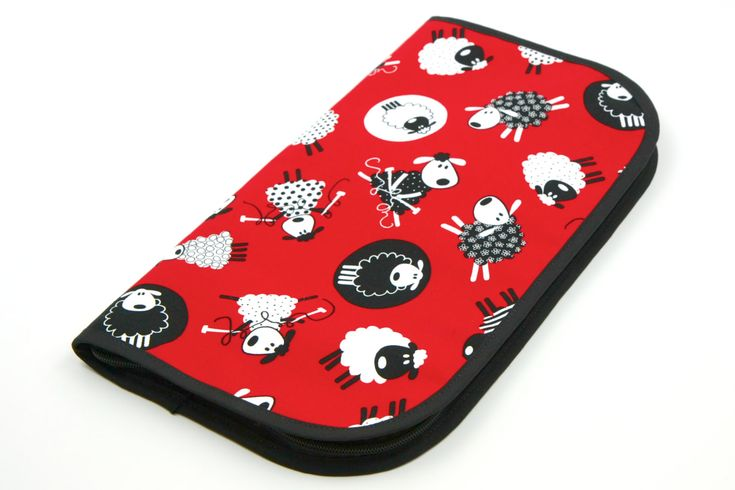 Excited to share the latest addition to my #etsy shop: Super Size Zip Around Knitting Needle Case - Red Sheep - black pockets http://etsy.me/2CYOFbW #knittingneedlecase #crochet #no #black #case #holder #storage #doublepointed