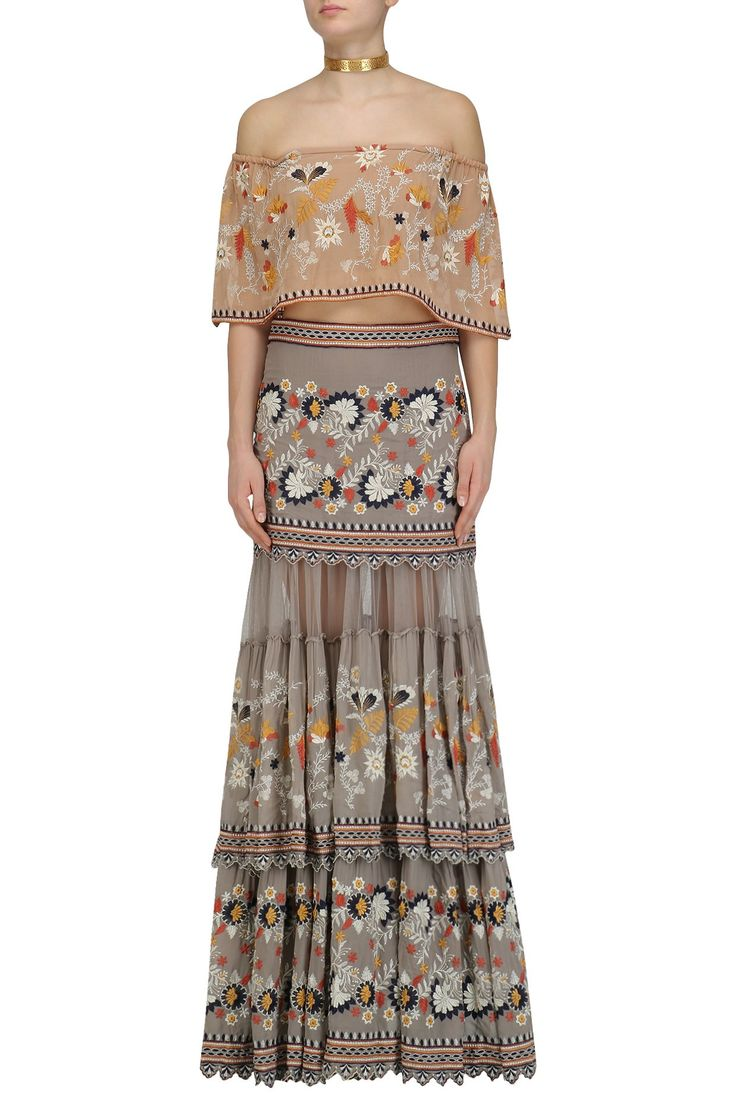 Grey Floral Work Boho Skirt And Peach Bardot Top set available only at Pernia's Pop Up Shop.