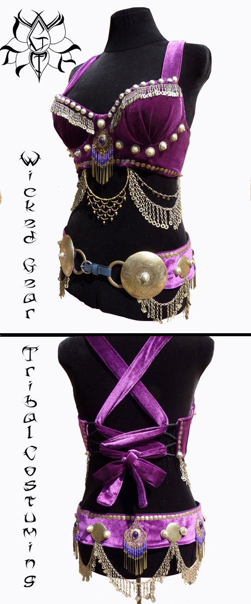 Belly dance bra and belt set matching bra and by WickedGearTribal