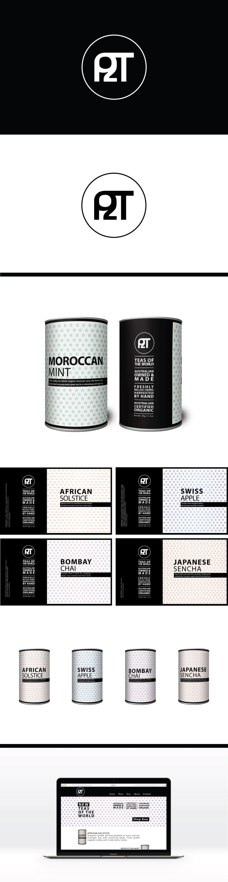P2T Branding & Packaging Concept. www.leahcussencreative.com #packaging #graphicdesign #tea #lccreative
