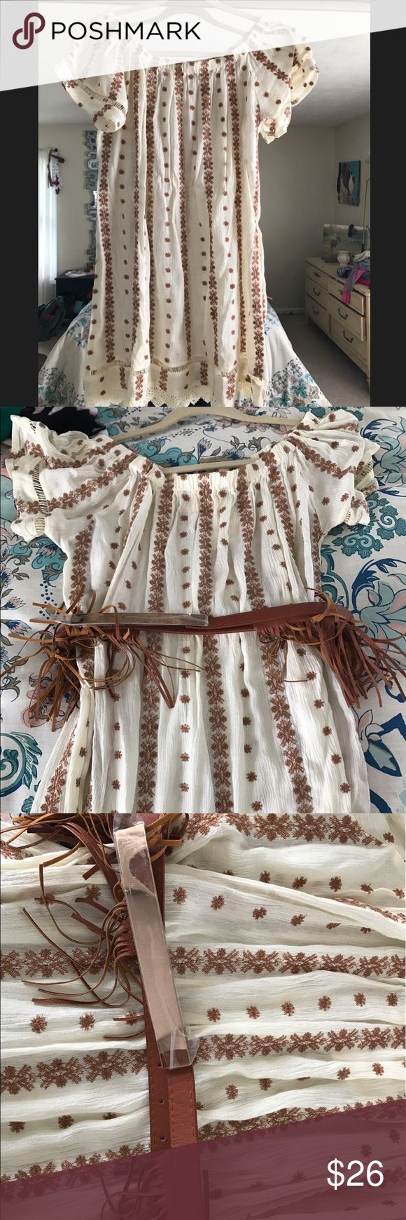 Boutique Dress 👗 with Fringe belt NWT NWT Boutique Dress 👗 with fringe belt!! Cute for country concert Dresses Midi