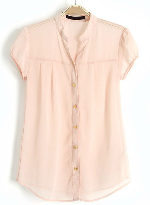 Apricot Stand Collar Short Sleeve Buttons Chiffon Blouse