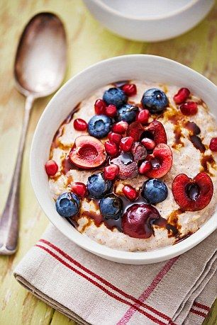 Jumbo Porridge with Jewel Fruits - get recipe here: http://www.dailymail.co.uk/femail/article-3886188/The-5-2-party-dress-diet-Follow-slimming-special-lose-stone-six-weeks-just-time-Christmas.html
