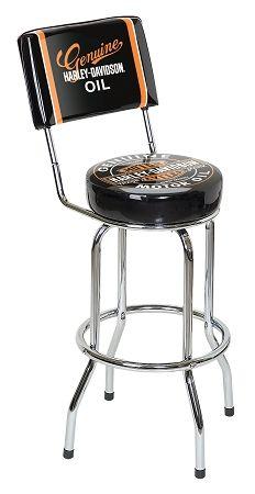 $114.00 Harley-Davidson Oil Can Bar Stool w/Backrest