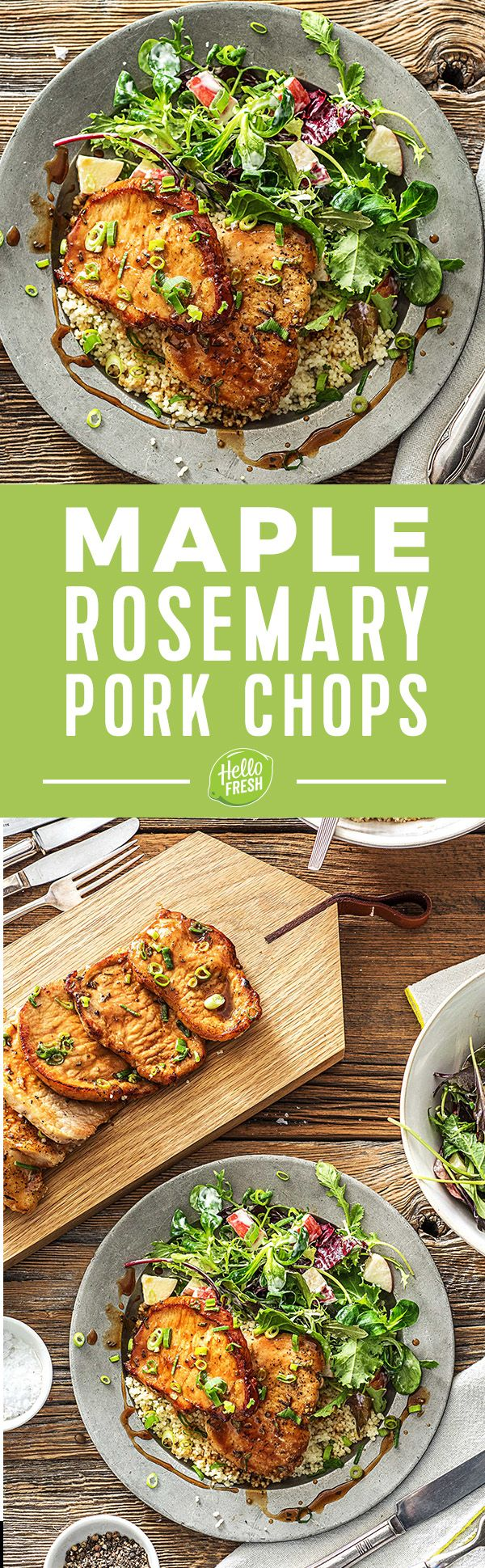 Maple and Rosemary-Glazed Pork Cutlets with Apple Salad in a Creamy Dressing | More easy and quick pork dinner recipes on hellofresh.com