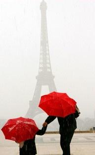 Red Umbrellas in Paris