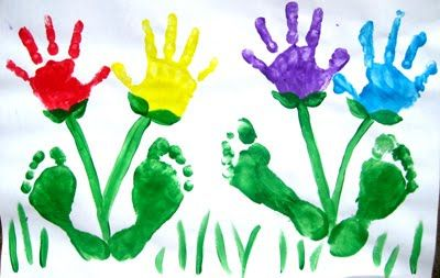 Handprint and Footprints for springtime flowers!
