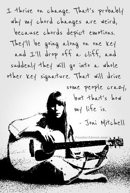 Joni Mitchell on Change. La adoro. Ya no se hace música así. Ya no se siente la música así.