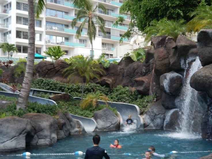 Lagoon Pool at the Hilton Hawaiian Village, Honolulu, Hawaii, USA