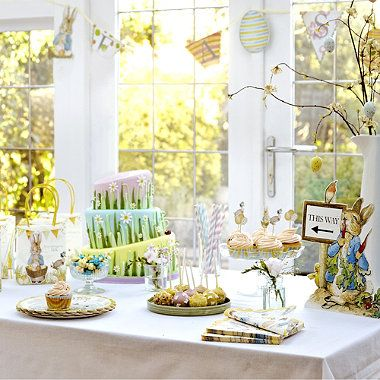 Beautiful Beatrix Potter Peter Rabbit Easter decorations. Perfect for an Easter tea party #easter