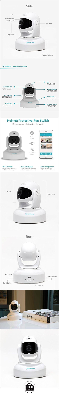 Casco iFamCare: Cámara de videovigilancia de hogares Full HD 1080p con Wi-Fi para iPhone y Android con sensor de calidad del aire, vigilabebés, rotación horizontal 360/vertical 70, audio bidireccional, visión nocturna, detector de movimiento, blanco  ✿ Vigilabebés - Seguridad ✿ ▬► Ver oferta: http://comprar.io/goto/B01E8HNS54