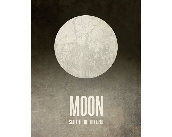 11x14 Moon Art, Astronomy Print, Solar System Poster, Geek Chic Nerd Decor, Satellite of Earth