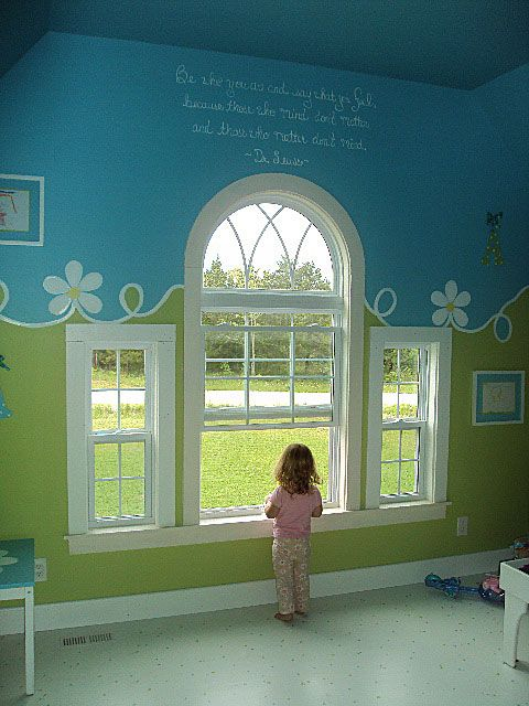 Blue & Green Playroom; I love this how the two colors blend so nicely together with this simple painted border