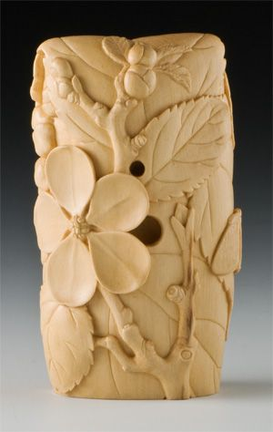 Spring Song Netsuke    Boxwood, Amber, Gold Leaf