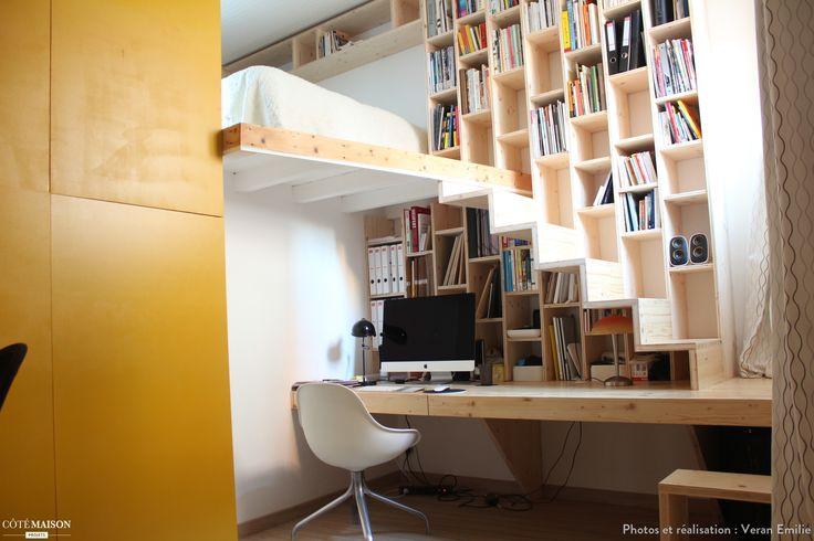 Création d'un meuble bureau/bibliothèque/escalier, Toulouse, Veran Emilie - architecte