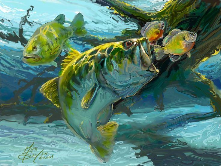 Largemouth Bass & Bluegill Fish Art. A contemporary freshwater Bass Fishing Painting by world renowned Game fish & Sportfishing Fine artist Savlen.