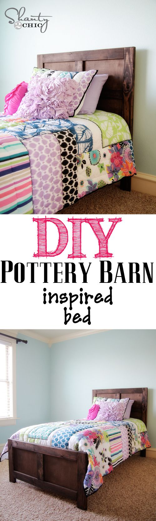 DIY Pottery Barn Inspired Bed - Cheap & Cute - excellent tutorial - I need to make some twin beds our old ones have seen better days. This is shown stained, but of course it could painted too.