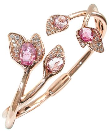 Mathon Paris, Glycine cuff. Pink gold, diamonds, pink sapphires