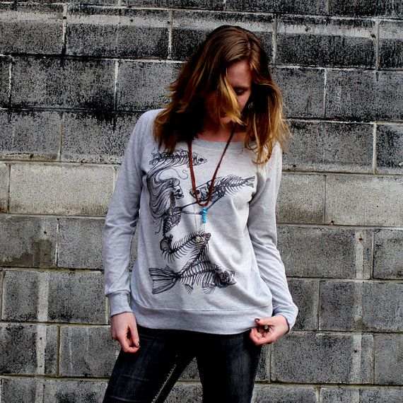 Hey, I found this really awesome Etsy listing at https://www.etsy.com/listing/92582876/skeleton-mermaid-grey-slouchy-sweatshirt