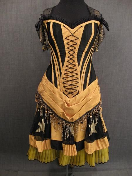 Saloon Dress from 18801880 Saloon, 09016399 09001054, Saloon Dresses, Girls Gowns, 09001054 Saloon, Moire Faille, Gowns 1880, Saloon Girls Costumes, Black Yellow