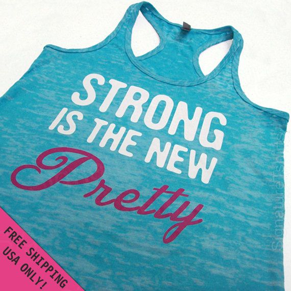 Strong is the New Pretty  Womens Tank Top Burnout Razor back  fitness gym workout  S - 2XL FREE SHIPPING. $22.00, via Etsy.