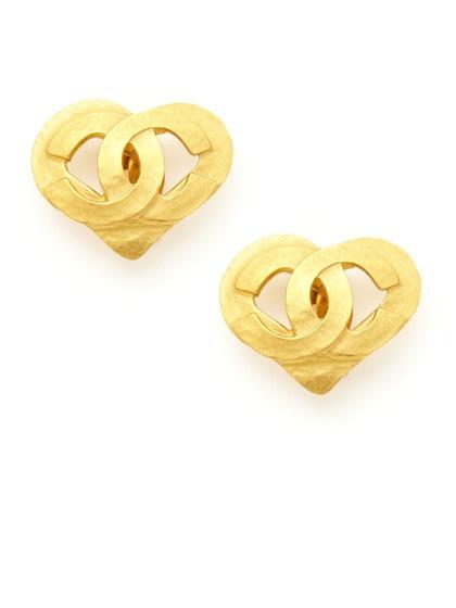 Chanel Heart Shape Stud Earrings
