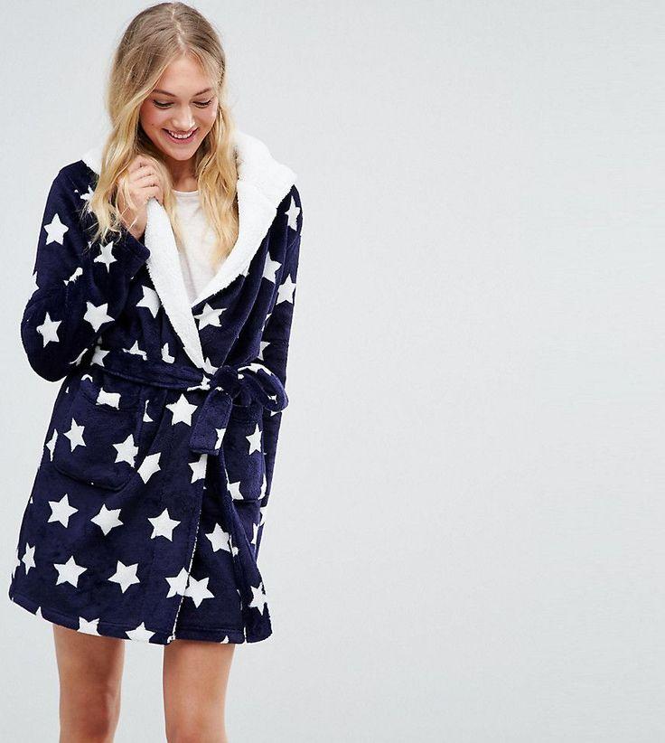 ASOS TALL Fluffy Robe In Star Print - Navy
