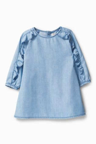 Buy Blue Tencel® Frill Long Sleeve Dress (3mths-6yrs) online today at Next: United States of America