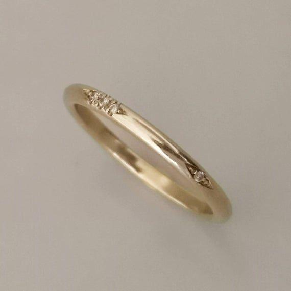 Thin Gold Wedding Band Delicate Diamond Wedding Ring For Etsy In 2020 Thin Gold Wedding Band Gold Wedding Band Antique Wedding Bands