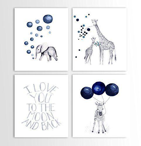Baby Boy Gift, Navy Blue Nursery, Elephant Decor, Giraffe, Zebra, Animal Nursery Art - Set of Four Art Prints