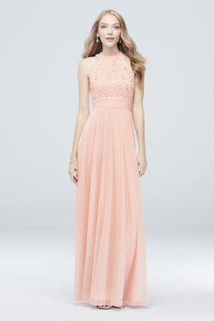 a5414c5b136d High-Neck Sequin Lace and Chiffon Dress Style W60081, Pale Pink, 24 ...