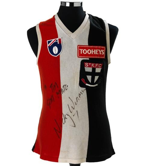 Nicky Winmar's AFL jumper Throughout the 17 April 1993 St Kilda vs Collingwood match at Victoria Park, Collingwood supporters hurled racist taunts at two Aboriginal St Kilda players. At the end of the game, with St Kilda victorious, midfielder Nicky Winmar lifted his guernsey and pointed proudly at his skin. has been credited as a catalyst for the movement against racism in Australian football. Now in Museum of victoria