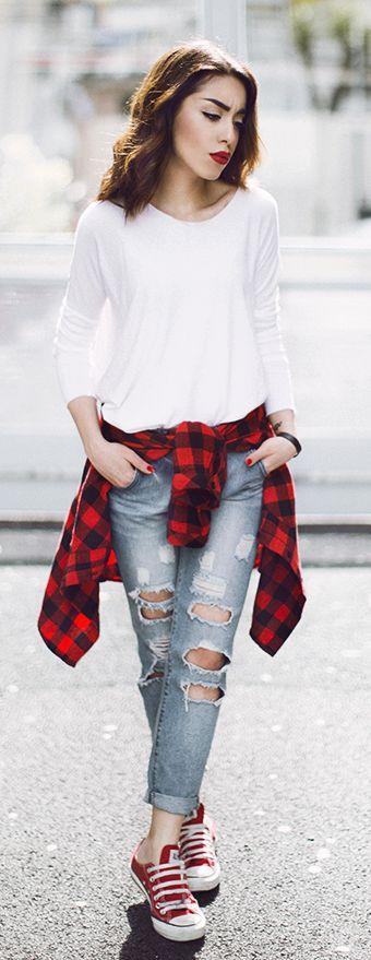 Red Sneakers Casual Style