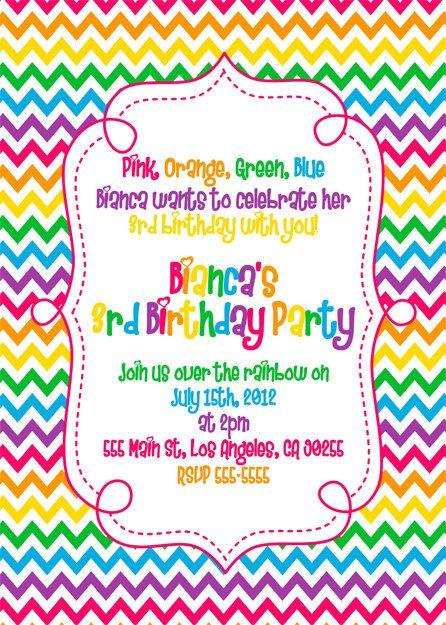 25 best ideas about Rainbow birthday invitations – Birthday Invites Ideas