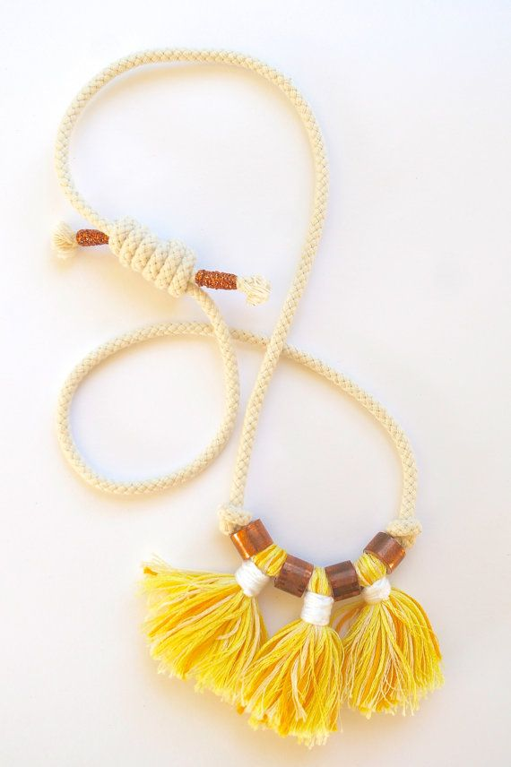 SALE Cotton tassel statement necklace in yellow with by Kelaoke